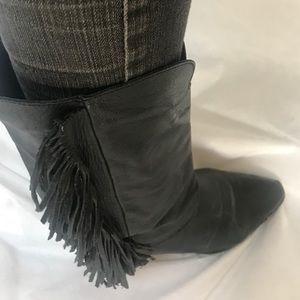 Vintage Zodiac Black Leather Cowboy Boots 8.5 M